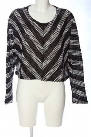 Minkpink Rundhalspullover schwarz-weiß Streifenmuster Casual-Look