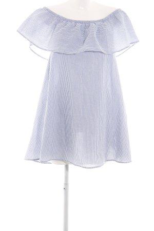 Minkpink schulterfreies Kleid blau-weiß Streifenmuster Casual-Look