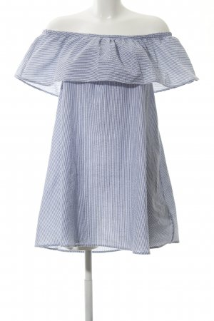Minkpink schulterfreies Kleid graublau-weiß Streifenmuster Casual-Look