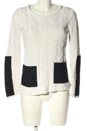 Minkpink Zopfpullover weiß-schwarz Casual-Look