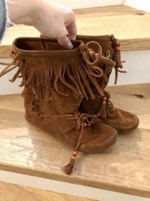 Minnetonka Indianer Stiefel Fransen 38,5