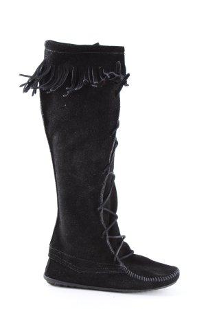 Minnetonka Bottes plissées noir style décontracté