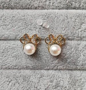 Minnie Maus Ohrringe Perlen Kristallsteine gold