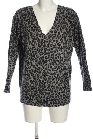 Minnie Rose Cashmere Jumper light grey-black allover print casual look