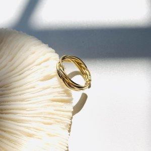 Złoty pierścionek ciemny żółty Metal