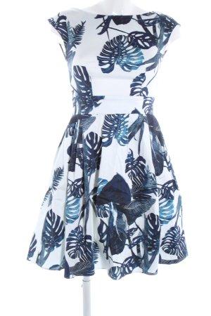 Mint&berry A-Linien Kleid weiß-blau Allover-Druck Casual-Look