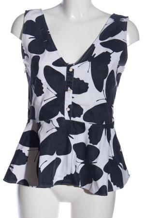 Mint&berry ärmellose Bluse schwarz-weiß Allover-Druck Casual-Look