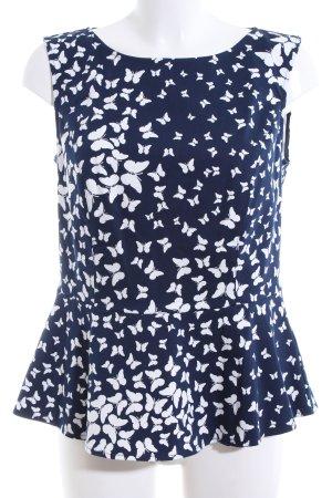 Mint&berry ärmellose Bluse blau-weiß Allover-Druck Casual-Look