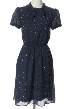 Mint&berry Blusenkleid blau-weiß Allover-Druck Business-Look