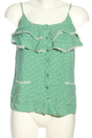 Mint&berry Blouse topje groen-wit volledige print casual uitstraling