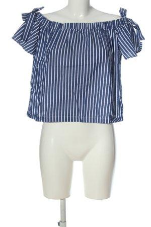Mint&berry Carmen-Bluse blau-weiß Streifenmuster Casual-Look
