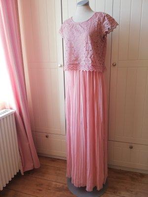mint&berry Festkleid Maxikleid rosa Brautjungfer plissiert Plisseekleid Spitze Spitzenkleid neu Gr. 40 M Cocktailkleid