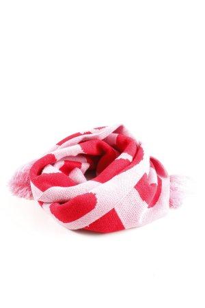 Mint&berry Fransenschal rot-pink Schriftzug gedruckt Casual-Look