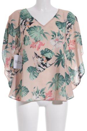 Mint&berry Kimono-Bluse nude-grasgrün Blumenmuster extravaganter Stil
