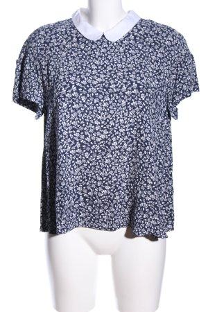 Mint&berry Kurzarm-Bluse weiß-blau Blumenmuster Casual-Look