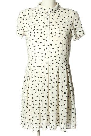 Mint&berry Kurzarmkleid weiß-schwarz abstraktes Muster Casual-Look