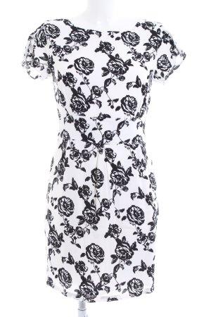 Mint&berry Kurzarmkleid weiß-schwarz Blumenmuster Elegant