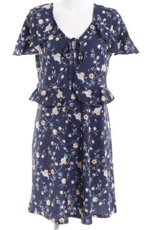 Mint&berry Kurzarmkleid dunkelblau Blumenmuster