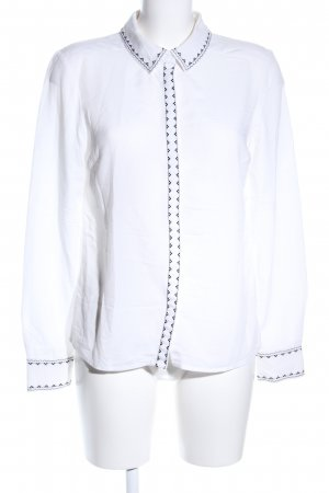 Mint&berry Langarm-Bluse weiß-schwarz grafisches Muster Business-Look