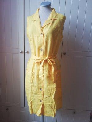 mint&berry Leinen Kleid Leinenkleid Hemdkleid Hemdblusenkleid gelb Gr. 36 S neu retro