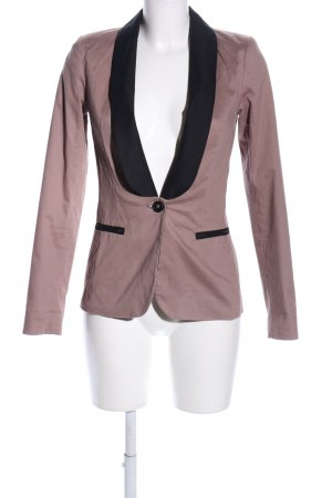 Mint&berry Lange blazer nude-zwart zakelijke stijl