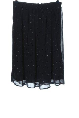Mint&berry Spódnica midi czarny-biały Wzór w kropki W stylu casual