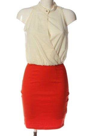 Mint&berry Sukienka mini w kolorze białej wełny-czerwony W stylu biznesowym
