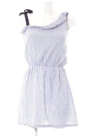 Mint&berry Minikleid weiß-blau Streifenmuster Bänderverzierung