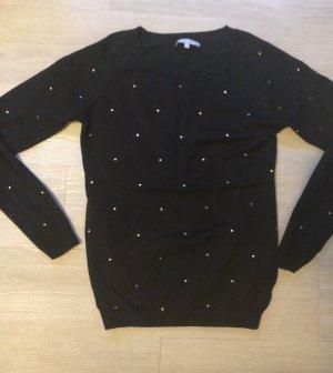 mint & berry Pullover Shirt schwarz gold Punkte Steine Größe S