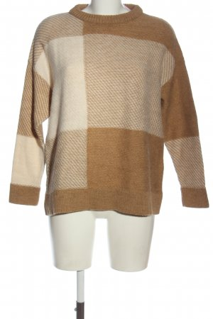 Mint&berry Rundhalspullover braun-creme Karomuster Casual-Look