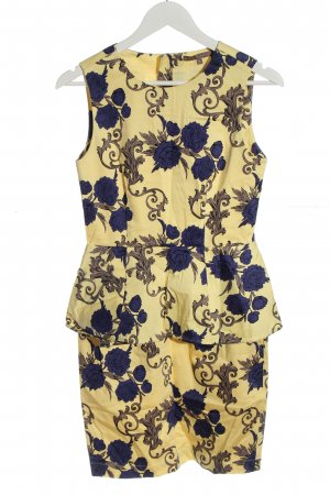 Mint&berry Robe péplum jaune primevère-bleu imprimé allover élégant