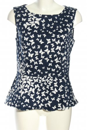 Mint&berry Peplum Top blue-white allover print casual look