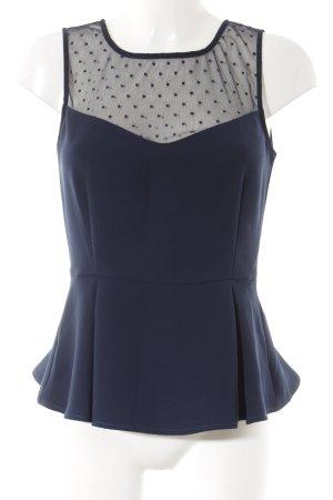 Mint&berry Top peplo blu scuro motivo a pallini stile casual