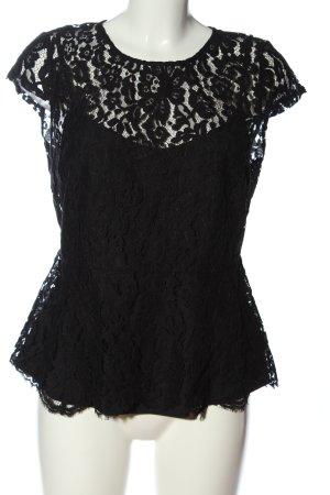 Mint&berry Blusa de encaje negro elegante