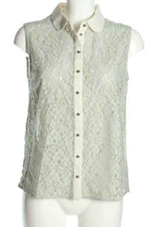 Mint&berry Blusa de encaje verde-blanco puro estilo clásico