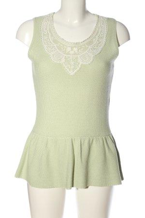 Mint&berry Blusa de encaje caqui-blanco look casual