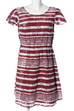 Mint&berry Spitzenkleid rot-weiß Streifenmuster Casual-Look