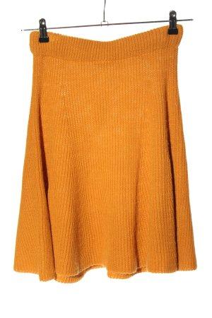Mint&berry Falda de punto naranja claro punto trenzado look casual