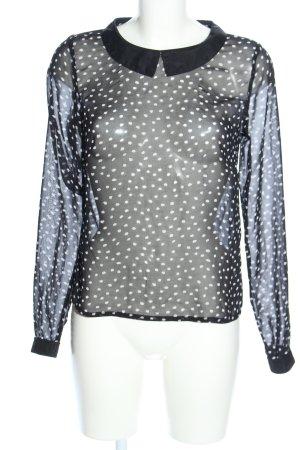 Mint&berry Transparenz-Bluse schwarz-weiß Punktemuster Casual-Look