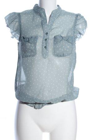 Mint&berry Transparenz-Bluse hellgrau-weiß Punktemuster Business-Look
