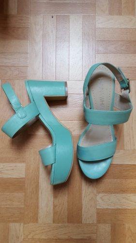 Hanna White Platform Sandals light blue leather