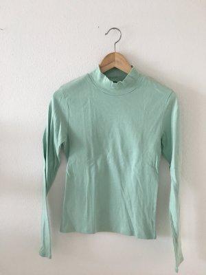 Mint grün blau Langarm longsleeve  Shirt Oberteil Top Stehkragen turtleneck figurbetont