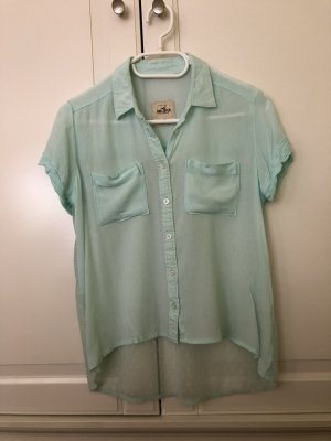 Hollister Short Sleeved Blouse light blue-turquoise viscose
