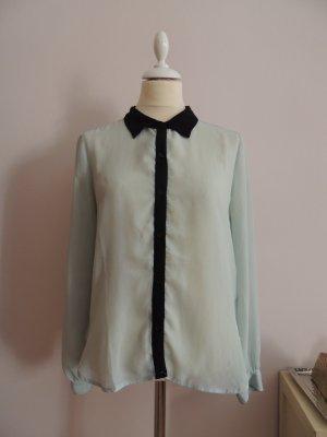 Mintfarbene transparente Bluse