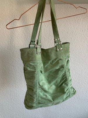 Mintgrüne Handtasche, Leder, Hallhuber