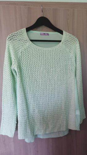 AJC Pull tricoté vert menthe-turquoise