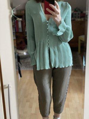 Mintgrünes plissiertes Oberteil von Zara