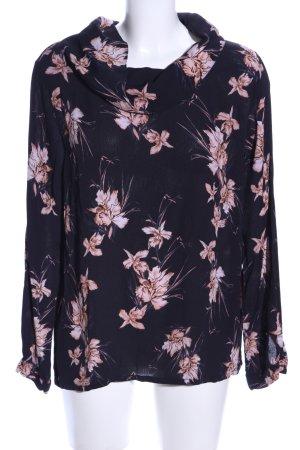 Minus Langarm-Bluse schwarz-pink Blumenmuster Casual-Look