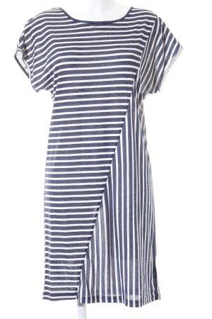Minus Shirtkleid weiß-stahlblau Streifenmuster