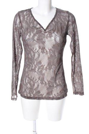 Minus Kanten blouse bruin bloemenprint zakelijke stijl